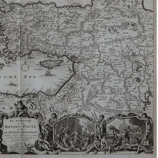 1714 antique map of holy land and mediterranean;  De Beschryvingh van de REYSEN PAULI en Van DE ANDERE APOSTELEN (..)