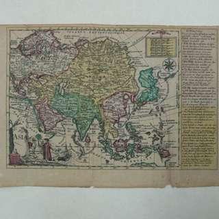 1749 antique map of Asia by J.G. Schreibern
