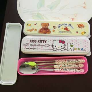 BNIB Hello kitty and Rilakkuma metal cutlery sets x3 (fork, spoon, chopstick)
