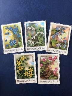 1983 蘇聯 春天的花卉 郵票5全