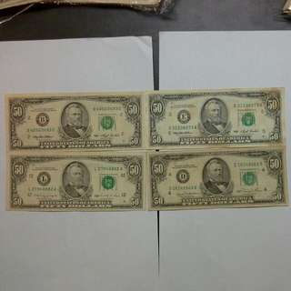 4 Usa United States $50 1981 1990 1993 Notes Usd Us Dollars