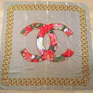 CHANEL Scarf Stole Silk Camellia Signature Logo With Gold Chain