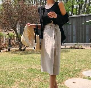 High waisted linen midi skirt - beige