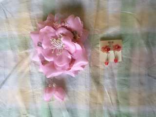 Kimono hair accessory and matching Kimono pattern textile sealed earring