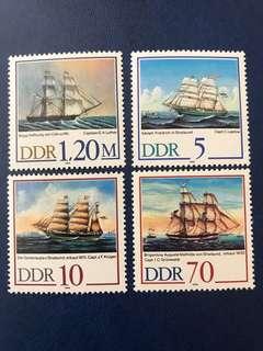 1988 德國東德 斯特拉爾帆船 航海郵票 4 全