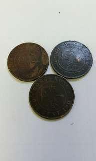 1904, 05 & 24年香港銅幣一仙3枚