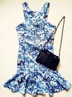 Blue neoprene skater dress