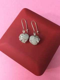 No:0656  925純銀,鑲天然緬甸A玉12mm 雙面心形耳環,超值價