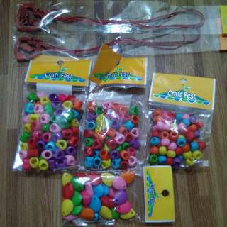 Colorful beads assorted with free heart necklaces