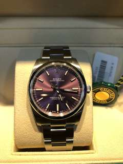 Brand new Rolex Oyster Perpetual 34 Red Grape Dial 114200 for sale