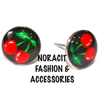 Oil Design Earrings - Stainless Steel Stud *POP THE RED CHERRY* - ODE251