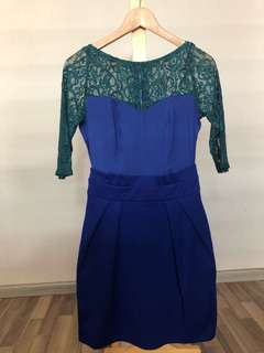 Short sleeve blue dress with green lace