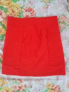 H&M Red Straight Cut Skirt