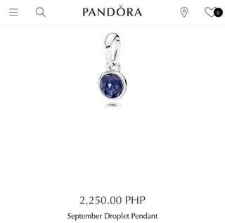 Brand New Auth Pandora September Droplet Pendant