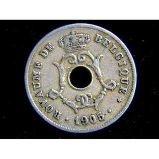 1905年比利時王國(Kingdom of Belgium)比皇利奧普二世徽號橄欖枝10仙圓孔鎳幣