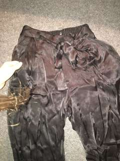 Black silky tie front pants originally $70