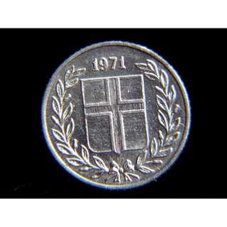 1971年冰島(Iceland)國徽10歐勒(Aurar)鎳幣