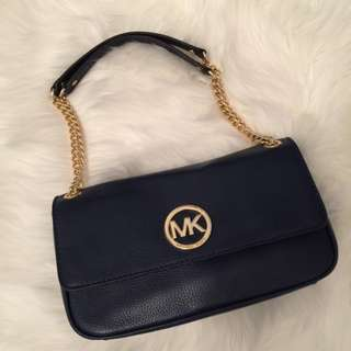 Michael Kors Navy Leather Bag with Gold Hardware