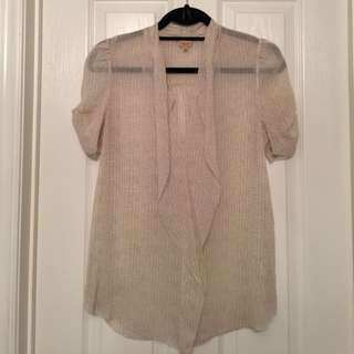Aritzia/T Babaton 100% Silk Short Sleeved Pattern Blouse (Small)