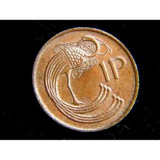 1971年愛爾蘭共和國(Ireland)豎琴國徽凱爾經式孔雀1便士銅幣