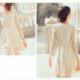 Korean Lace Long Sleeve Princess Dress-Cream Colour NEW