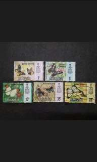 Malaysia 1971 Pulau Pinang Butterflies Definitive Loose Set - 5v MNH & Used Stamps