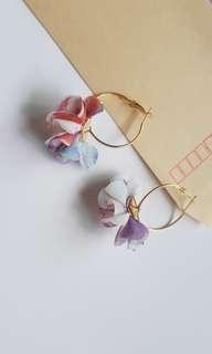 Kimono Floral Hoop Earrings