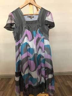 Cap sleeve grey/pink/blue printed dress
