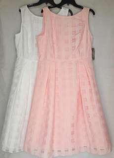 Eva Mendes pink & white windowpane lining sleeveless midi dress