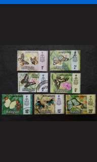 Malaysia 1971 Pulau Pinang Butterflies Definitive Complete Set - 7v Mix MH & Used Stamps