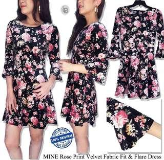 Mine rose print Velvet fabric fit & flare dress
