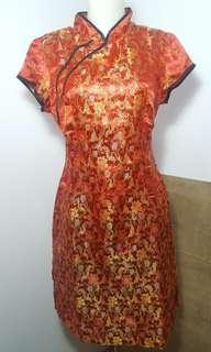 Cheongsam Flower Dress in Red Gold Mettalic