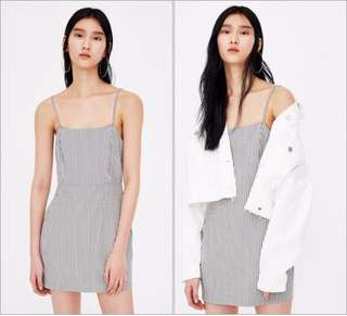 🚚 OshareGirl 05 美單經典方格直條紋細肩帶連身裙洋裝
