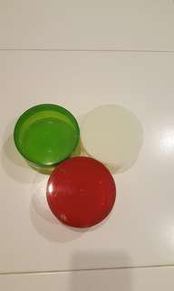 Coloured Round containers-green /white /red
