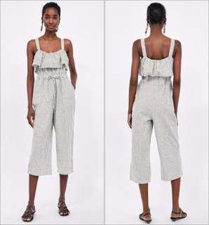 🚚 OshareGirl 05 歐美女士棉麻條紋背帶褲吊帶褲休閒褲