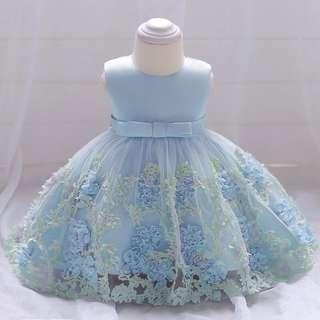 Blue Printed Flower Baby Dress