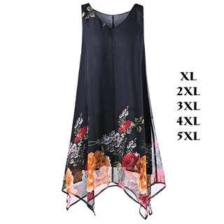 💯 Plus Size V Neck Floral Handkerchief Dress