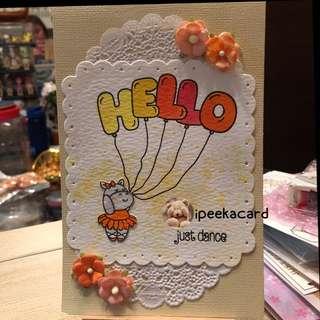 Handmade card dancing hippo