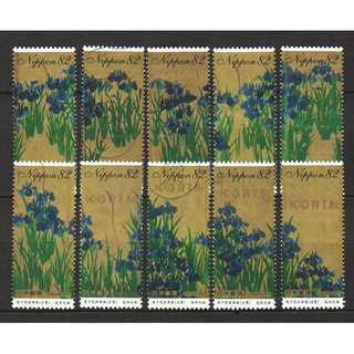 JAPAN 2017 PHILATELIC WEEK (IRISES SCREENS PAINTING) COMP. SET OF 10 STAMPS IN FINE USED CONDITION
