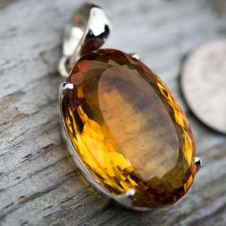 Citrine Pendant - Citrine Necklace - Faceted Citrine Pendant - November birthstone - Citrine pendant - Gorgeous Cut Citrine Pendant