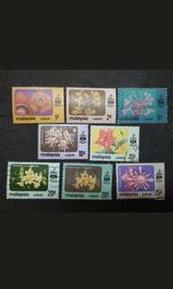 Malaysia 1979 Sabah Flowers Definitive Complete Set - 7v  MNH & Used Stamps
