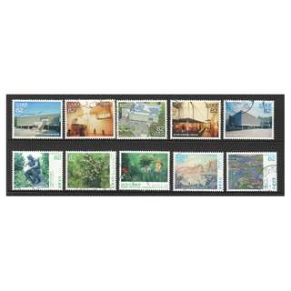 JAPAN 2017 WORLD HERITAGE 3RD SERIES 10TH ISSUE (NATIONAL MUSEUM OF WESTERN ART BY LE CORBUSIER) COMP. SET OF 10 STAMPS IN FINE USED CONDITION
