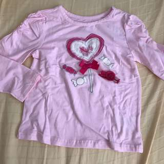 (New w tag) 4T pink ruffle Long sleeve TOP from the children's place
