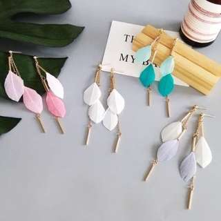 🔥 Pastel colourful feather geometric gold chain dangling stud earrings