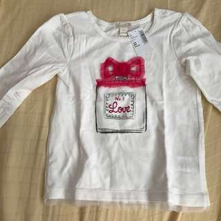 (New w tag) white ruffle Long sleeves TOP 4T