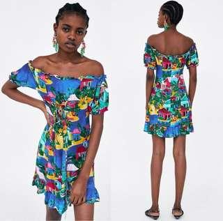 🚚 OshareGirl 05 歐美女士油畫印花一字領平口荷葉滾邊連身裙洋裝
