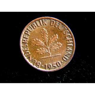 1950年德意志聯邦共和國(西德)橡樹1分寧銅幣(西德第一批貨幣)