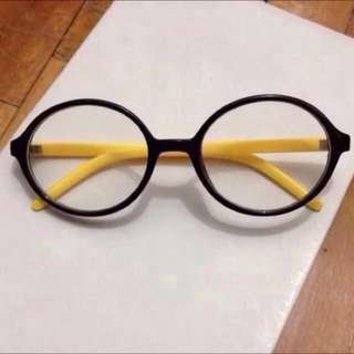BN Black Yellow Round Frames Geeky Specs Spectacles