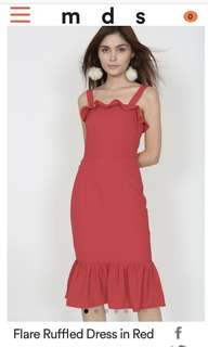 MDS Flare Ruffled Dress in Red XS
