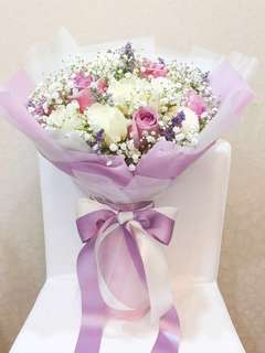 47-50cm Flower Bouquet - Lilac ROSES BABY BREATH PONG PONG CASPIA